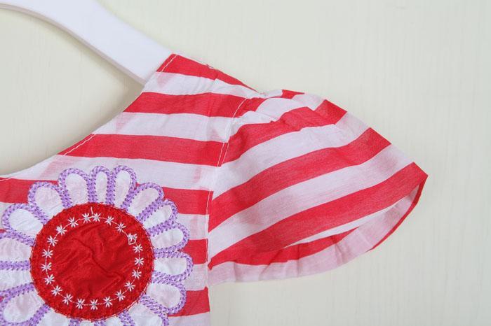 2013 New Korean Delicate Girl Dress Printed Flower Children's Dress Bowknit back Kids Summer Dress