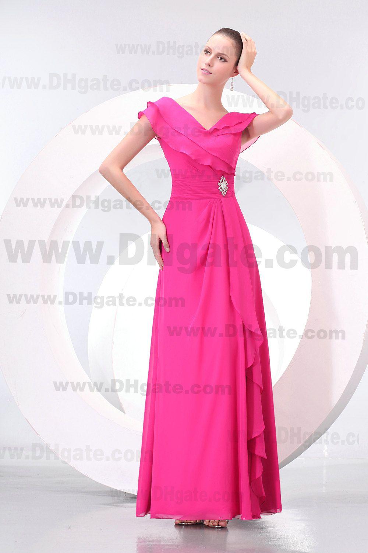 Vestido de dama de honor de gasa con cuello en V de Fuschia y escote en V de alta calidad BD049