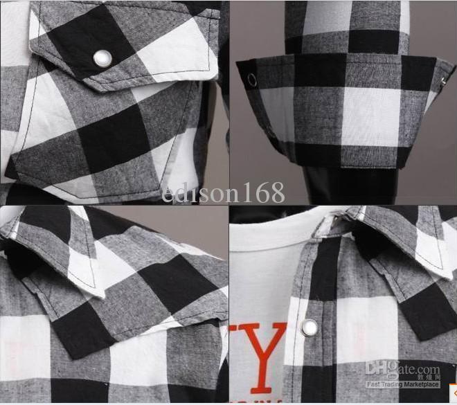 Ny Mode Mäns Slim Bomull Lattice Två Ficka Långärmad Skjorta C56 / 2 Färg