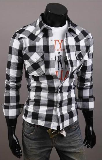 Nouveau coton mince hommes formant une grille deux poches chemise à manches longues C56 / 2 couleurs