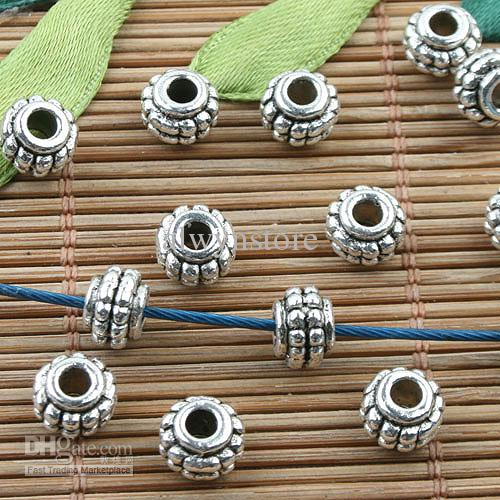 Cor prata tibetana cravejado espaçador contas 50pcs EF0077