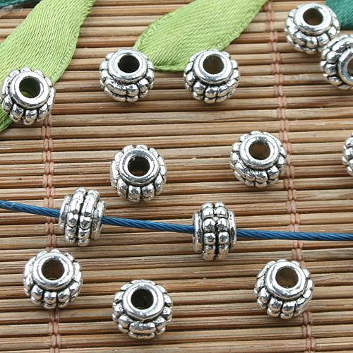 Тибетский серебряный цвет шипованных распорку бусины 50шт EF0077
