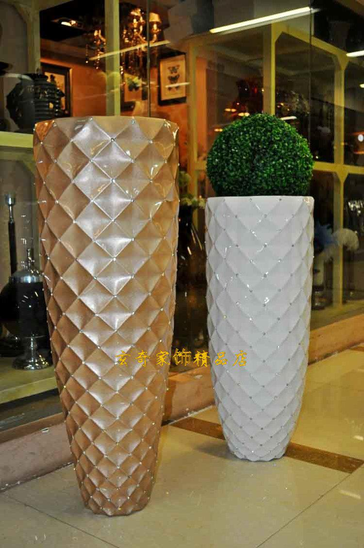 floor vase defaultname wide galvanized metal jug vase siena  -  mesh diamond modern fashion white black flower large floor vase