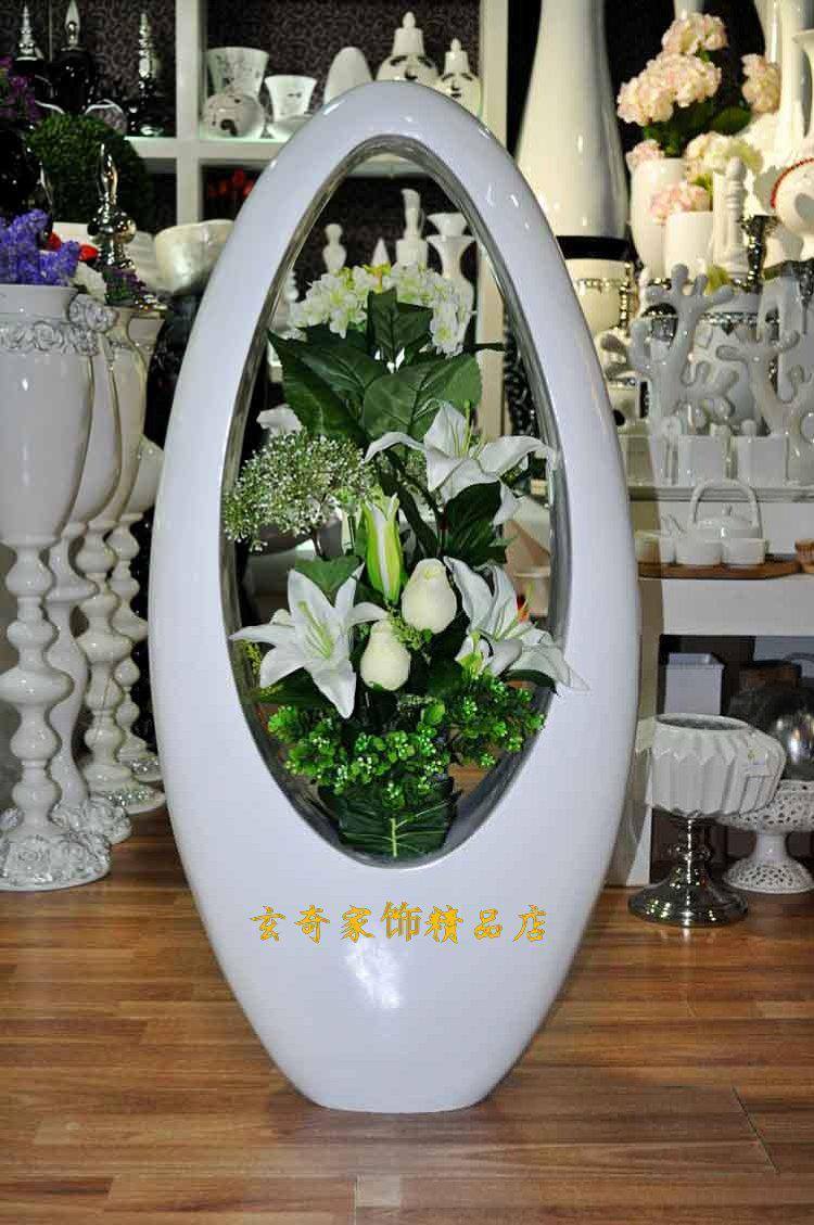 80 White Large Floor Vase Modern Fashion Flower Brief Derlook Flower Vases For Cheap Flower