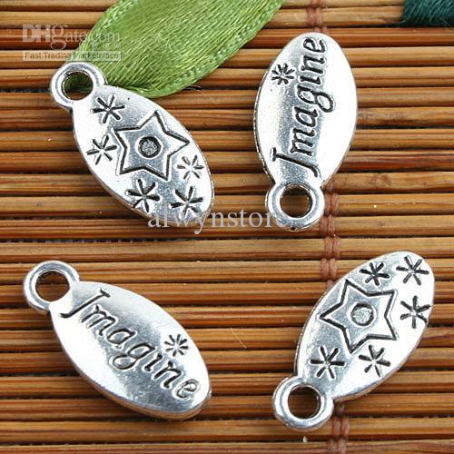 Alloy metal Tibetan Silver color Imagine charms 40pcs EF0088