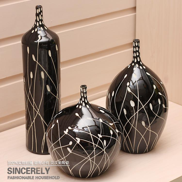 Modern Home Pottery Handmade Sculpture Of The Three Piece Set Vase Decoration Black And White
