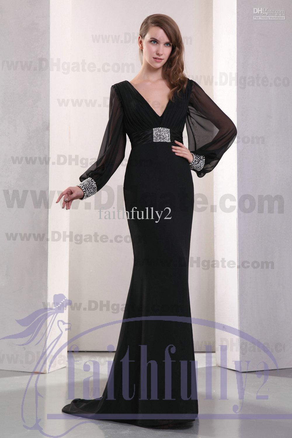 Black Empire Evening Dress V Neck Long Sleeves Ruched Band With ...