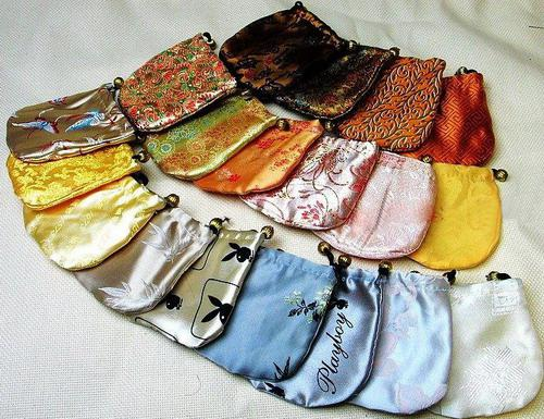 Partihandel 50st Kinesiska handgjorda silke Smycken påse / myntpåsar