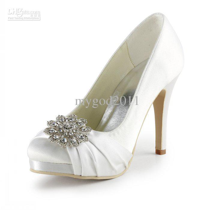 Rhinestone White Ivory Wedding Bridal Shoes High Heel