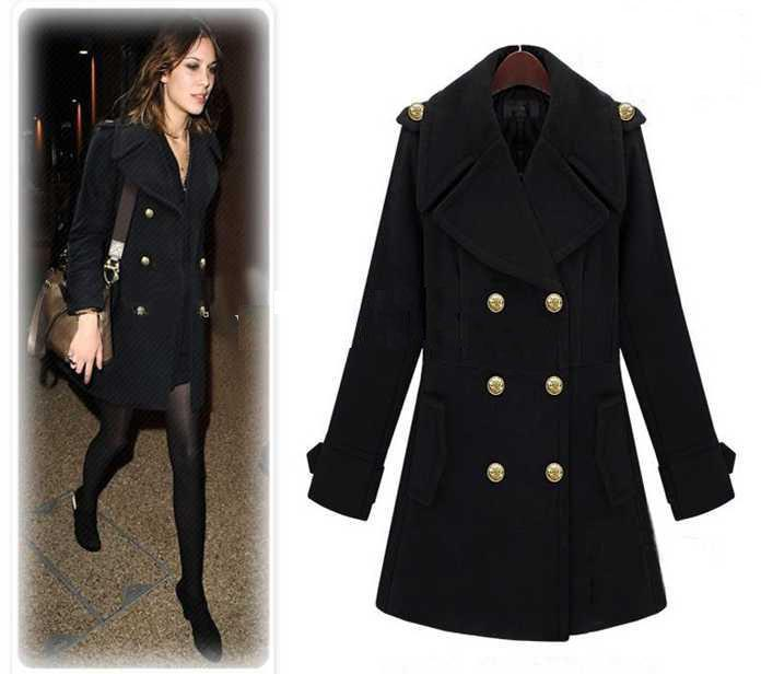 2018 Fashion Women's Coat Black Double Breasted Lapel Woolen Long ...