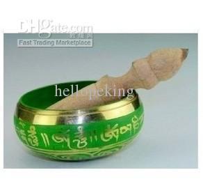 도매 저렴 한 디바인 치유 등급 티베트어 녹색 노래 그릇