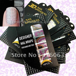 Wholesale 3d Nail Full Cover Stickers - [AL318]Free shipping 54 packs set Assorted Professional Jeweled 3D Nail Bling Sticker Nail full cover Stick