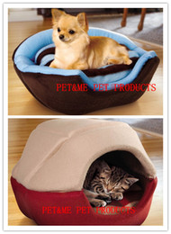 free beds Canada - Free shipping warm pet puppy dog yurt cat bed tent couch double-sided plush two colors 1pc for sell