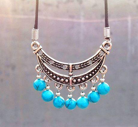 Xmas Elegante Couro Tibetano Prata Turquesa Bead Tassels Pingente de Colar de Lua barco Mulheres 15 pçs
