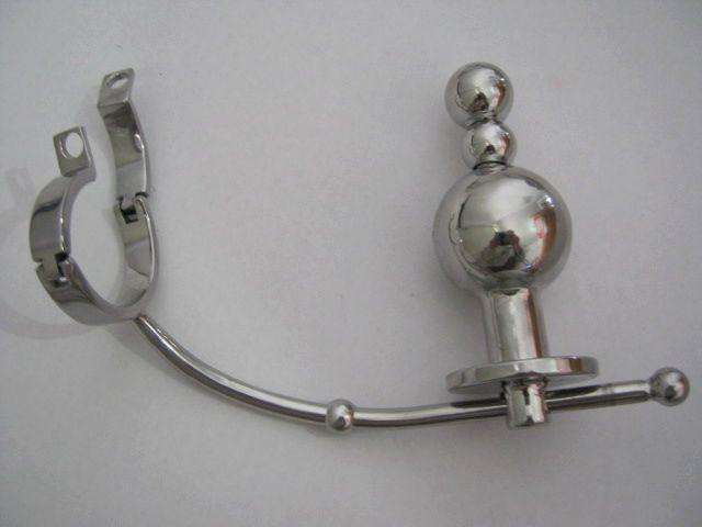Homme en acier inoxydable ajustable réglable fiche anale beads beads cock cage de pénis avec cathéter appareil de courroie de chasteté BDSM jouets sexuels A046