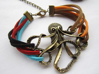 Wholesale Cheap Fashion Id Bracelets - 15%off!Retro octopus color leather cord bracelet! Fashion jewelry!Cheap jewelry! 10pcs