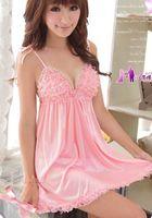 Wholesale Sheer G String Teddy - Sexy Lingerie Pink Lace Dress+G String Sleepwear,Underwear ,Uniform ,Kimono Costume Free Size Free S