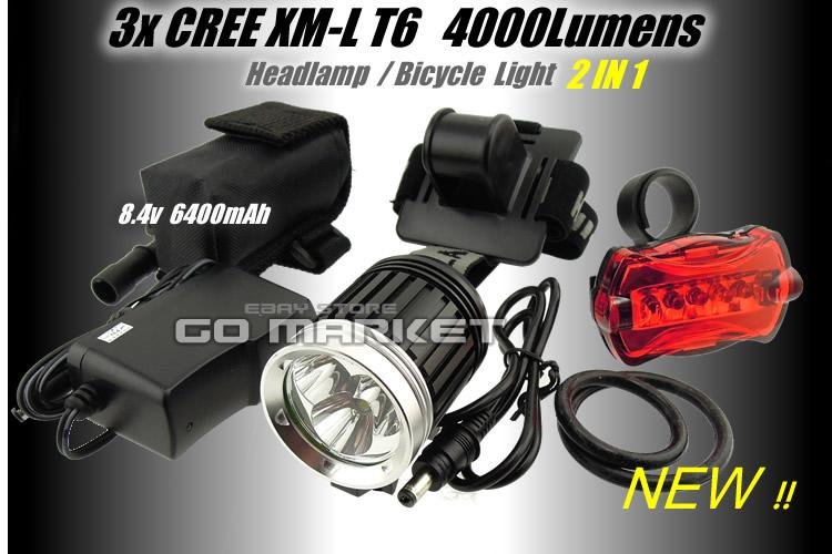 3x Cree Led Xml Xm L T6 Led 4000lm Bicycle Light Bike Lamp