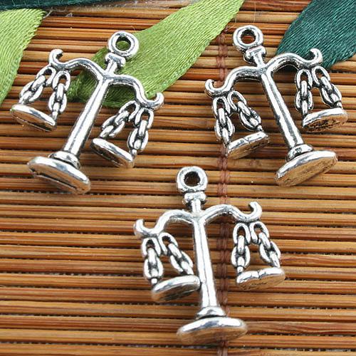 Prata tibetana 2 lados balança justiça projeto encantos 20 pcs EF0093