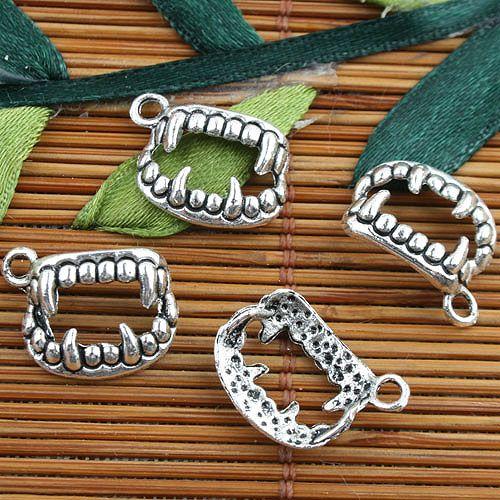 En forma de boca de color plata tibetana dientes estilo encantos 60 unids EF0094