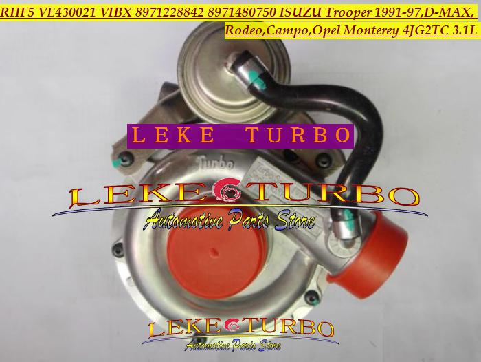 RHF5 VIBX 8971228842 8971480750 Turbo Turbine Turbo voor ISUZU TROOOPER, D-MAX CAMPO, VOOR OPEL MONTEREY 4JG2TC 4JG2-TC 3.1L