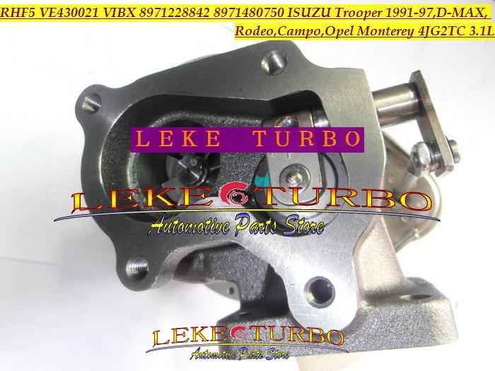 RHF5 VIBX 8971228842 8971480750 ISUZU Trooper için Turbo Türbin turboşarj, D-MAX Campo, OPEL Monterey 4JG2TC için 4JG2-TC 3.1L