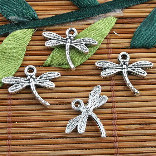 Legierungsmetalltibetanische silberne Farbe Libellenentwurfs-Charme 70pcs EF0123