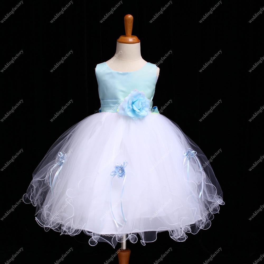 Ankle Length Organza Flower Girls Dresses with Handmade Flower and Ribbon Scoop Neck Ball Gown Gowns