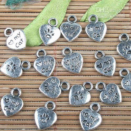 Tibet Gümüş renk kedi ayakizi tasarım charms 90 adet EF0140