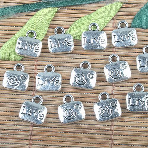Aleación de metal de color plata tibetana encantos patrón vivo 36 unids EF0145