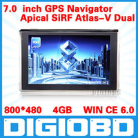Wholesale Gps Navigation Sirf V - 7'' inch GPS navigation Apical SiRF Atlas-V Dual core CPU WIN CE 6.0 800MHz DDR 128M 4G memory