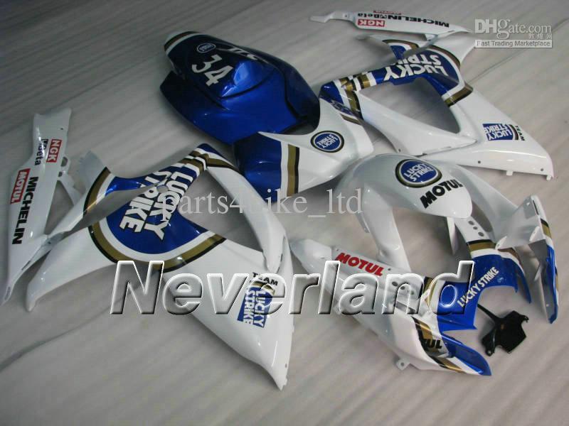 Lucky Strike för Suzuki GSXR600 750 2006 2007 GSX-R K6 GSX-R600 GSXR750 06 07 Fairings Kit K6W