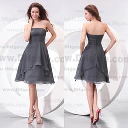 Wholesale Grey Knee Length Bridesmaid Dresses - New Arrival Knee Length Strapless Grey Chiffon Bridesmaid Dress BD069