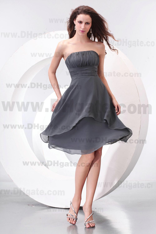 Ny ankomst knä längd strapless grå chiffon brudtärna klänning bd069