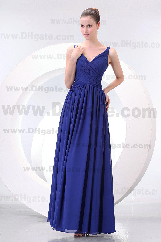 Nouvelle arrivée bleu royal col en V A-ligne de sol longueur robe de demoiselle d'honneur en mousseline de soie BD050