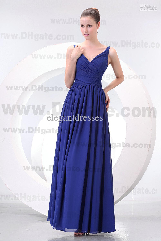 새로운 도착 로얄 블루 V- 목 A- 라인 바닥 길이시 폰 들러리 드레스 BD050