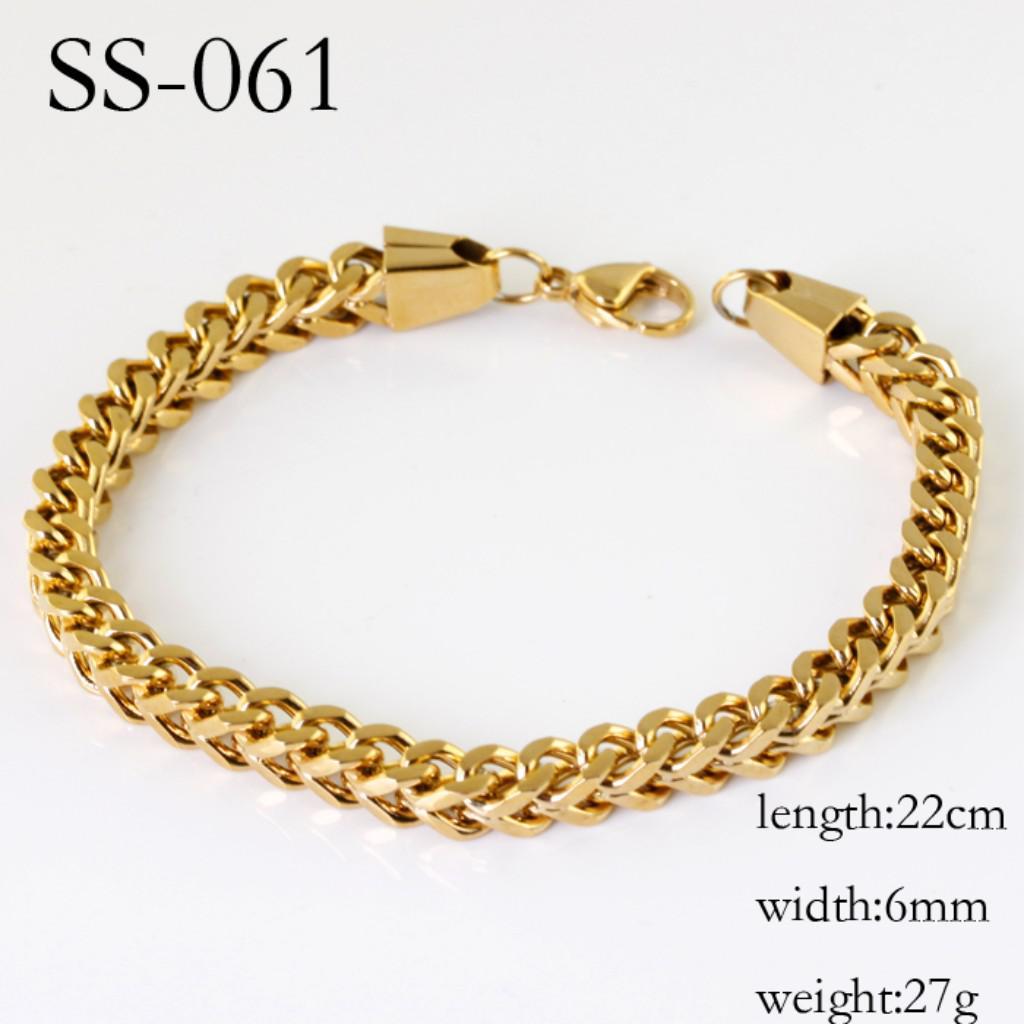 Livre o navio! Charme 18 K ouro aço Inoxidável cub 6mm cadeia sólida Pulseira pulseira, presentes de aniversário dos homens