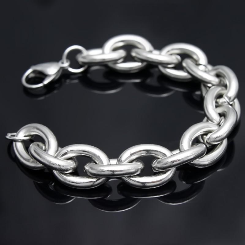 Envío gratis! Hombres fuertes de acero inoxidable pulido de alta 15mm enorme cadena ovalada pesada brazalete pulsera 9 ''