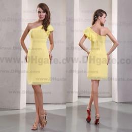 Wholesale royal castle - Elegant 2015 One Shoulder Strapless Knee Length Chiffon Bridesmaid Dress Cocktail Dresses BD058
