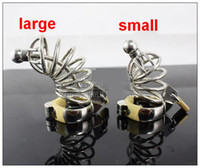 Wholesale Male Chastity Large Catheter - New Male Stainless Steel cock Cage Penis Ring With Catheter Chastity Belt Device Bondage BDSM Fetish Sex toy Large Small