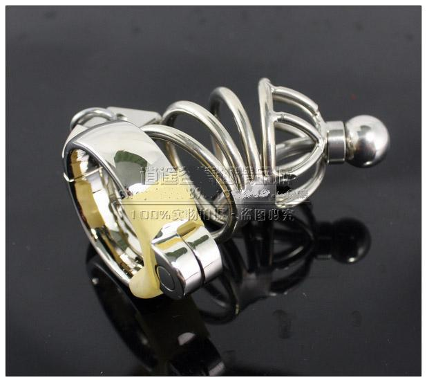 2018 New Male Stainless Steel cock Cage Penis Ring With Catheter Chastity Belt Device Bondage BDSM Fetish Sex toy Large Small