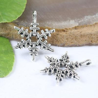 Tibetan Silver Snowflake Beads 40 Stück H0003