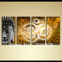 Wholesale Texture Canvas Oil Painting - Framed 4 Panels 100% Handpainted High End Large Buddha Canvas Art Oil Painting Texture Art--XD00924