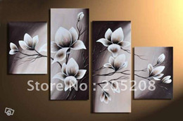 Wholesale Tulip Flower Art - Framed 4 Panels Huge Black and White Wall Art Flower Tulip Oil Painting on Canvas Picture--XD00390
