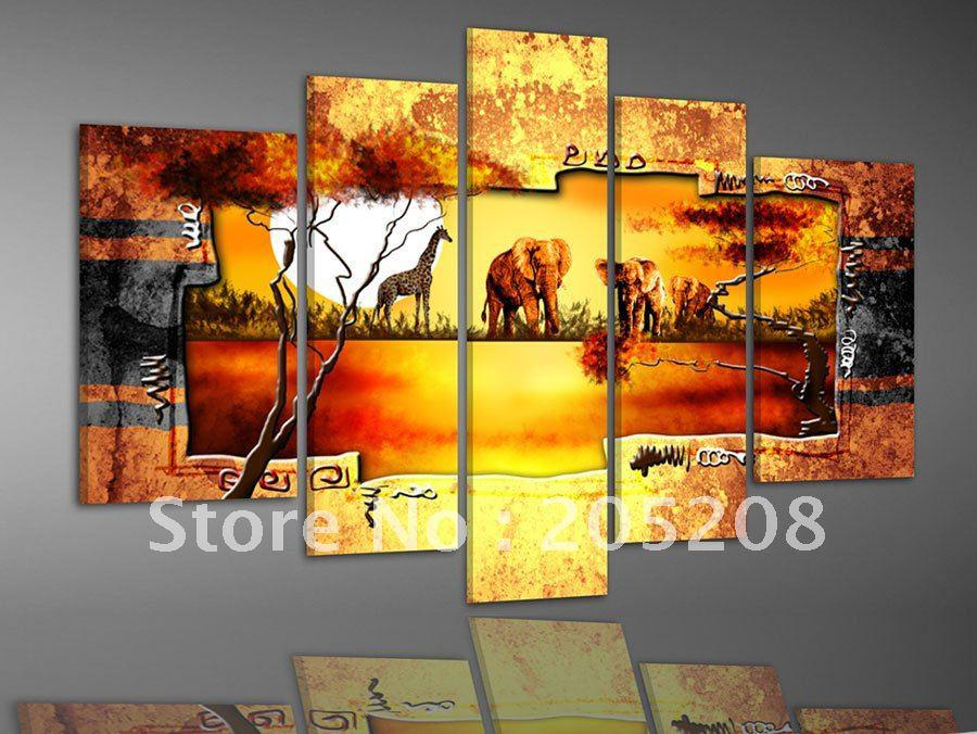 2018 Framed 5 Panels Huge Wall Art Gold Canvas Picture African Oil ...