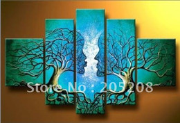 Wholesale Canvas Art Blue Tree - Framed 5 Panels Huge Tree of Life Abstract Oil Painting Blue Canvas Art Wall Decor Picture XD00155