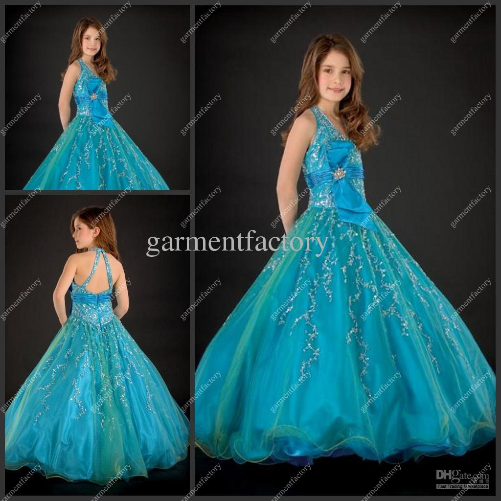 Hater Ball Gown Long Blue Organza Little Girls Evening Gowns Kids ...