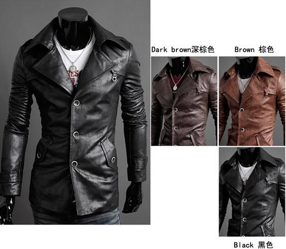 New Style Men Leather Jackets Fashion Washed Skin Single Breasted ...