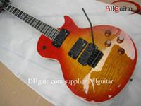 çin fabrikası gitarı toptan satış-Özel siyah donanım elektrik gitar Çin Gitar Fabrika çıkışında vibrato standart Sunburst gitar floyd alışveriş
