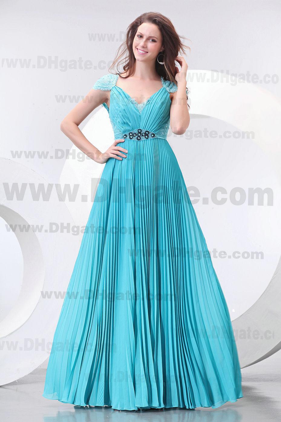 2021 Kate Princess Floor Lengte Prom Gowns V-hals Kant Back Mooie Hunter Chiffon Avondjurk ED089